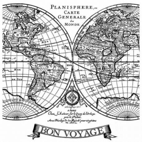 """Sello de alta definición """"Voyages Fantastiques"""" de Stamperia 10x10cm"""