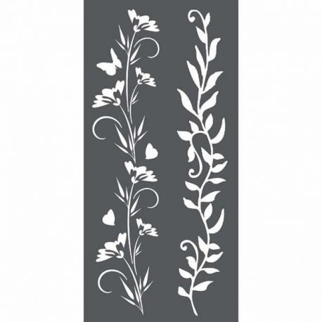 Stencil Stamperia 12x25cm y 0.5mm de espesor Borders flowers and leave