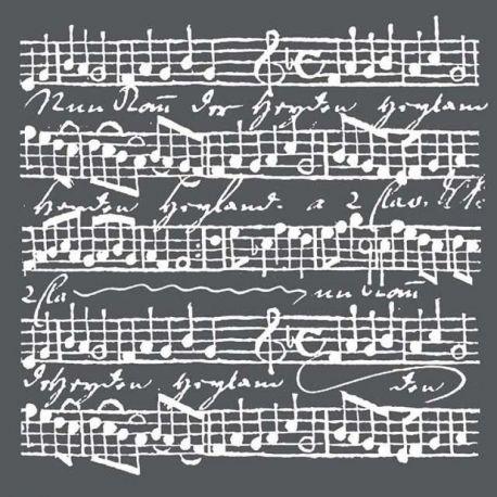 Stencil Stamperia 18x18cm y 0.5mm de espesor Music Scores