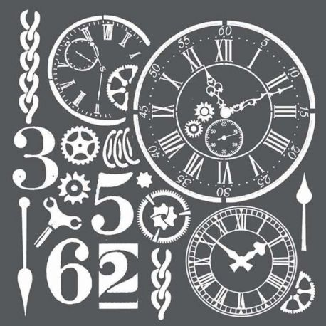 Stencil Stamperia 18x18cm y 0.5mm de espesor Watches and numbers