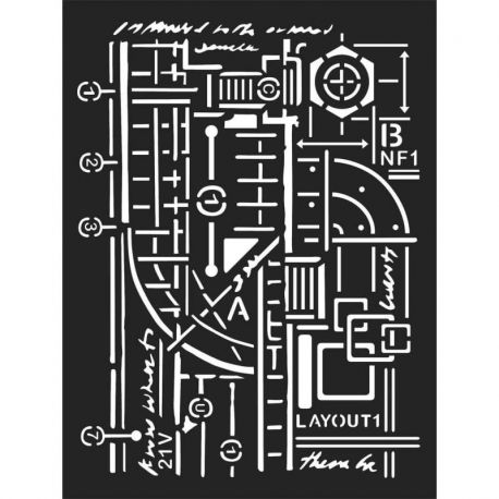 Stencil Stamperia 15x20cm y 0.5mm by Antonis Tzanidakis - Mixed Media layout